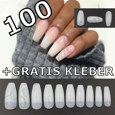 100 Nagel Tips Ballerina natur Coffin Nails Full Cover künstliche Nägel Kleber