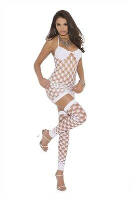 DIAMOND NET HALTER MINI DRESS w/ G-STRING & THIGH HIGHS SET - WHITE - One Size