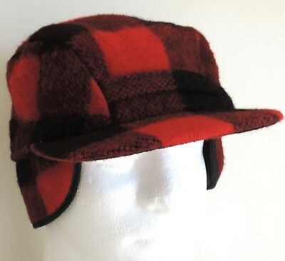 VTG Woolrich Mens Hunting Trapper Cap Hat Ear Flap Lined Buffalo Plaid Wool S-M