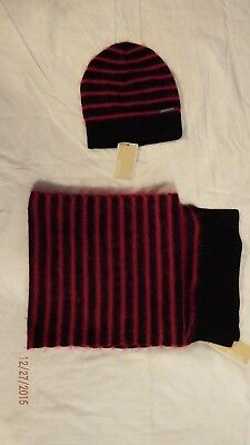NWT MICHAEL KORS Mohair Blend Angora Striped Set SCARF and HAT $140