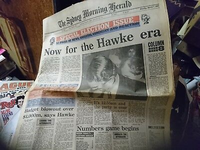 Old Newspaper Labor Party Election win Bob Hawke March 7 1983