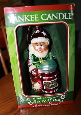Yankee Candle Blown Glass Christmas Ornament Snowflake New in Box Elf