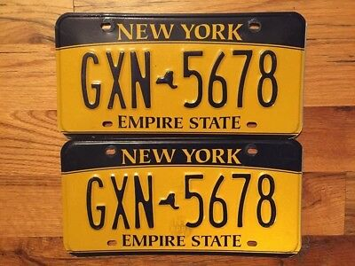 Set Of New York Empire State License Plate /tag ~Gxn 5678~