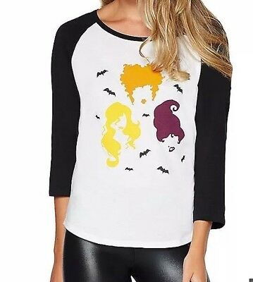 d098b498b DISNEY HOCUS POCUS Womens Raglan Shirt Top Sanderson Sisters XL NEW ...