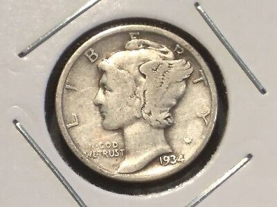 "1934 US ""Winged Head"" dime."