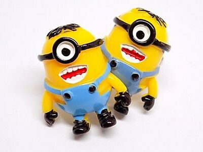 Handmade Minion Resin Cufflinks Silver Plated Toggles, Gift Boxed!