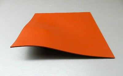 "Silicone Rubber Sheet High Temp Solid Red/Orange Commercial Grade 10x10x1/8"" Sq"