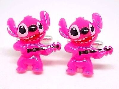 Handmade Disney Pink Stitch Resin Cufflinks Silver Plated Toggles, Gift Boxed!