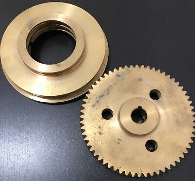 "Large Brass Worm Gear + Bell Housing Pulley 6-1/8"" D STEAM TURBINE PART ASSEMBLY"