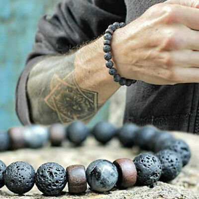 Man Natural Black Lava Stone Rock Volcanic Round Bead Stretchy Elastic Bracelets