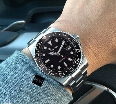 Parnis GMT Red Dial Mens  Automatic  Submariner 40mm  Luxury Diver Watch Uk