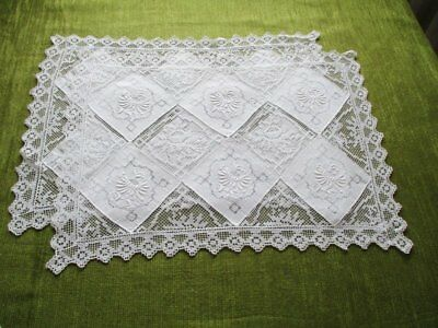 Pr.vintage Tray Cloths Hand Embroidery & Filet Lace - Unused