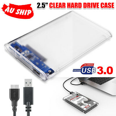 AU Transparent 2.5 SATA to USB 3.0 Hard Drive Enclosure Case Laoptop HDD SSD