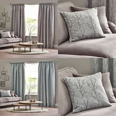 Grey Lined Curtains Floral Tree Tape Top Ready Made Pencil Pleat Curtain Pairs