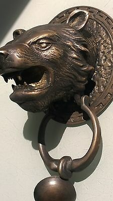 LION TIGER head old heavy front Door Knocker SOLID BRASS vintage antique style B