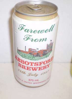 Empty Australian  beer can  -  Farewell to Abbotsford Brewery - a hard can
