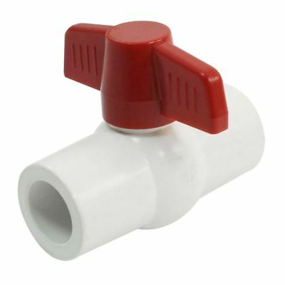 5X(20mm x 20mm Red Handle Double Ports White PVC Pipe Connect Ball Valve J2U4)