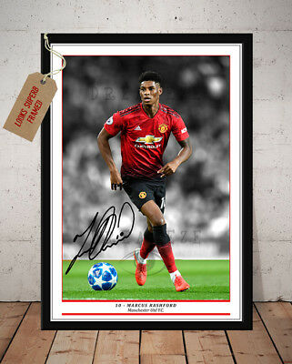 Marcus Rashford Manchester Utd Fc Autographed Signed Football Photo Print