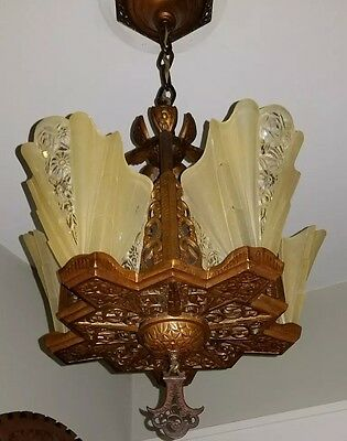 1930s Art Deco Chandelier with Consolidated Slip Shades Ceiling Light Fixture