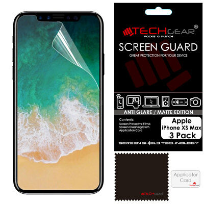 3 Pack TECHGEAR MATTE ANTI GLARE Screen Protector Covers for Apple iPhone XS Max