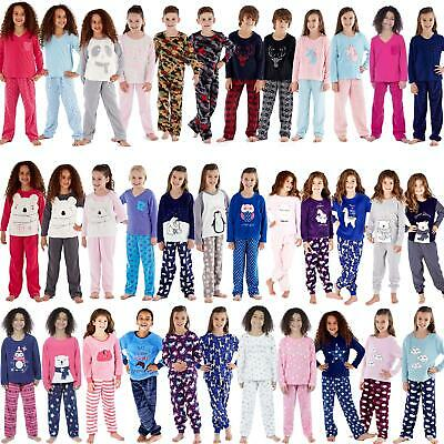 Girls/Boys Fleece Pyjamas Childrens Pyjama Set Kids PJs Age 2-13 Years