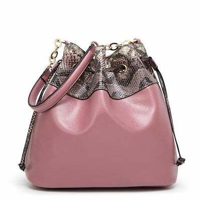 Women Pu Leather Bucket Shape Tassel Decorated Top Handle Cross Body Bag