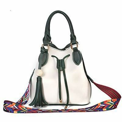 Women Tassel Decorated Bucket Shape String Top Handle Cross Body Bag