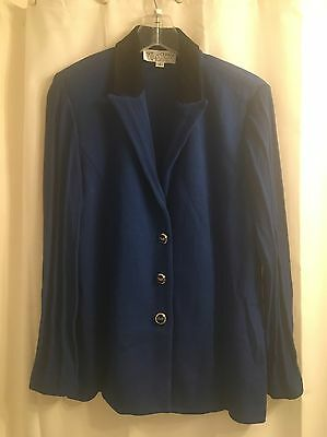 St. John Collection SANTANA KNIT JACKET Blue SUEDE COLLAR Marie Gray BLAZER 12