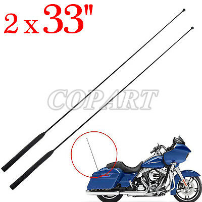 2pc 33'' AM FM Antenna Radio Rubber Fit Harley Touring Road Street Electra Glide