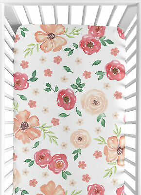 Watercolor Floral Flower Peach Pink Green Baby or Toddler Fitted Crib Sheet