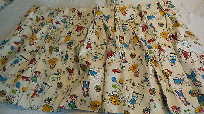 "4-Pc Vintage Pleated CURTAINS, Juvenile, Children, Primary Colors, Lined,35""x23"""