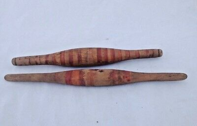 Pair Of Vintage  Old Unique Wooden Painted Dough Rolling Pin  Kitchen Baking