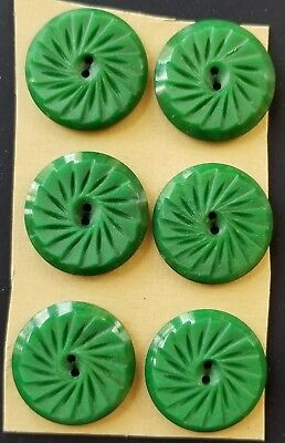 """Vintage Buttons - 6 Green Casein 2-hole Carved Matt Finished 7/8"""" Buttons"""