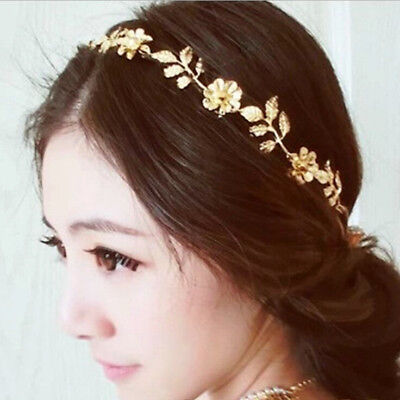 Wedding Bride Floral Headband Headpiece Hair Accessory Prom Girl Gift-Gold