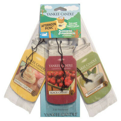Yankee Candle Afternoon Picnic 3 Pk Car Jar 2D Cardboard Air Fresheners FREE P&P