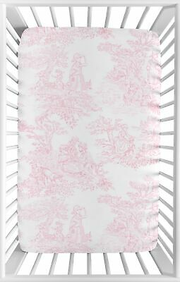 Pink and White Baby Fitted Mini Portable Crib Sheet for French Toile Bedding
