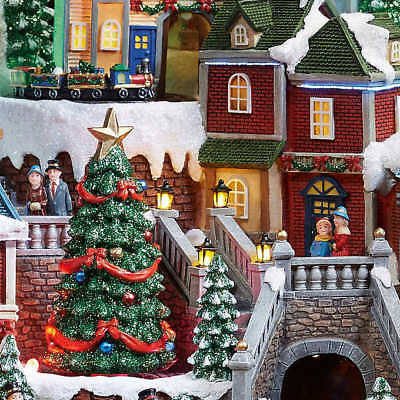 NEW 2018 Christmas Animated Holiday Musical Winter Village Moving Train 8 Songs