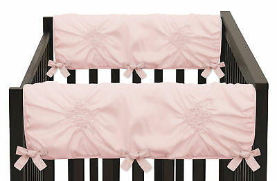 Solid Color Blush Pink Harper Shabby Chic Baby Side Crib Rail Guards - Set of 2