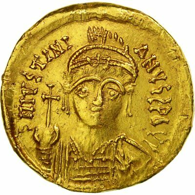[#652160] Münze, Justinian I, Solidus, 527-565 AD, Constantinople, SS, Gold