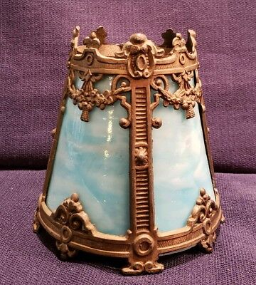Antique Stunning Ornate Cast Brass & Blue Slag Glass Lamp Sconce Shade