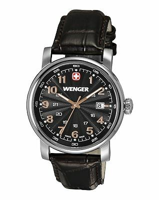 Wenger Urban Classic Black Sunray Textured Dial, Brown Leather Strap
