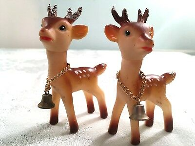 Vintage Christmas Reindeer Lot Of (2) W/ Glitter & Metal  Bells Made In Japan