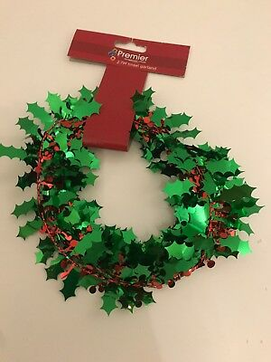 2.7m Foil Green Red Holly Tinsel Garland Christmas Xmas Tree Hanging Decoration