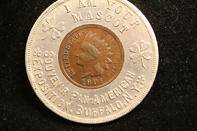 Pan-American Exposition Buffalo NY 1901 encased Indian cent.