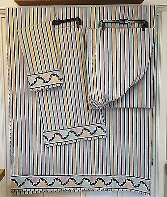 Sears Perma Prest Percale Queen 4pc Sheet Set Vintage 1980 Graphic Floral Stripe