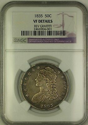 1835 Capped Bust Silver Half Dollar 50c Coin NGC VF Details Reverse Graffiti