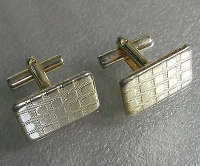 Cufflinks Vintage Mens Cuff Links 1960s 1970 CHECKED GOLDTONE METAL RECTANGLE
