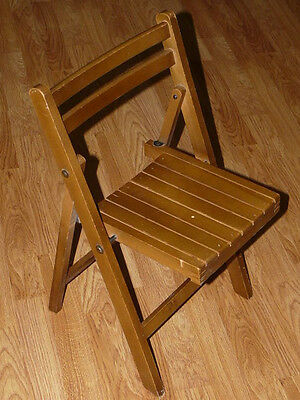 Vintage Childs - Kids Wooden Slat Folding Toddler Wood Chair Antique Seat