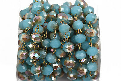 1yd Turquoise Blue AB Crystal Rondelle Rosary Chain, bronze, 10mm beads fch0564a
