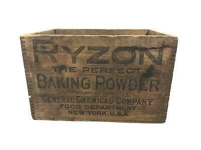 """Vintage Ryzon Baking Powder Country Store Wood Crate Box 11 1/2"""" X 8"""""""